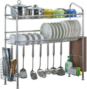 Over The Sink Dish Drying Shelf Stainless Steel Cutlery Holder Kitchen Rack 37quot;