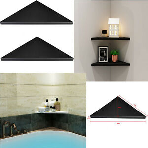 Set of 2 Wall Black Corner Shelf Easy to Install Mounting Shelf Home Furniture