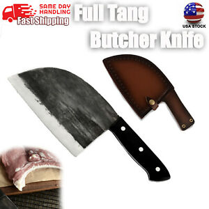 Chef Kitchen Butcher Knife Forged Full Tang Bone Chop Knife with Leather Sheath