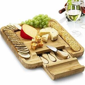 Cheese Board Tray with 4 Cheese Knives Bamboo Board Serving Tray 13x13x1quot;