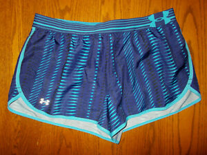 UNDER ARMOUR BLUE PRINT FITTED RUNNING SHORTS WITH LINER WOMENS LARGE EXCELL. $13.00
