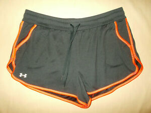UNDER ARMOUR HEAT GEAR GRAY SEMI FITTED RUNNING SHORTS WOMENS LARGE EXCELLENT. $12.50
