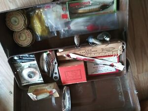 Vintage Tackle Box NOS Fishing Lures Flys leaders bait hooks sinkers jigs ruler