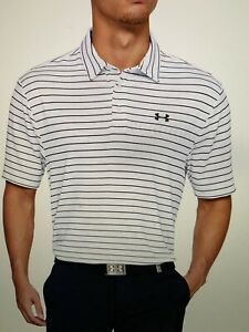 Mens Under Armour Golf Playoff 2.0 White Striped Polo Shirt, Large $26.99