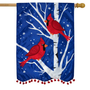 Winter Cardinals Applique House Flag Double Sided 28