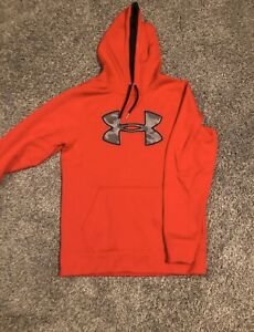 Under Armour Mens Red camo logo Long Sleeve Hoodie Sweatshirt Size Small $7.50