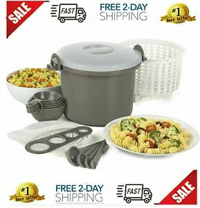 Microwave Rice Cooker and Pasta Cooker 17 Piece Set, BPA Free, 12 Cup Capacity