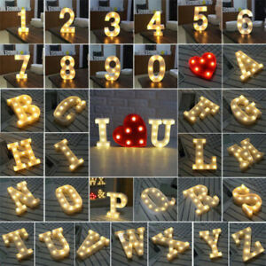 ALPHABET LETTER NAME LED LIGHT UP NUMBERS WHITE INITIALS STANDING Sign Decor NEW