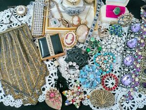Antique Victorian Deco Rhinestone Signed Vintage Jewelry Lot Shell Cameos GF