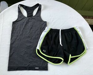 Under Armour Womens Running Shorts Racerback Tank Top Size Small Black $8.00