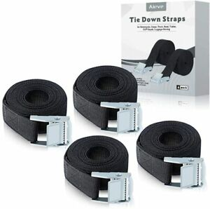 4 Pack 6.5ft Heavy Duty Ratchet Tie Down Straps with Cam Buckle for Cargo Truck