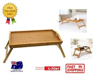 Bamboo Breakfast Food Tea Serving Tray Lap Table Over Bed Tray With Folding Legs