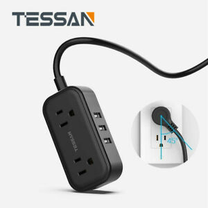 TESSAN Small Power Strip with 3 USB Charging Ports 5ft Extension Cord amp;Flat Plug