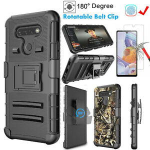 For LG K51 LG Q51 LG Reflect Phone Case Clip Holster Cover with Tempered Screen
