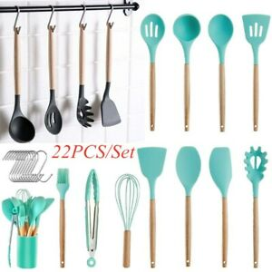 22PCS Silicone Kitchen Cooking Utensils Set Wooden Handle Heat Resistant Basting