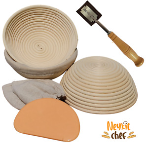 Set of 3 Banneton Proofing Baskets 8.5 round with Bread Lame Dough Scraper