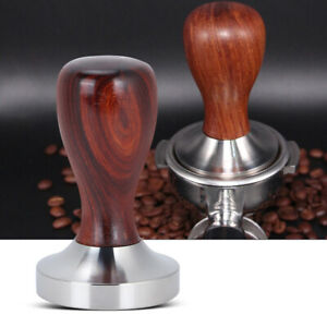 Red Sandalwood Coffee Bean Tamper Stainless Steel Powder Compactor for Office $23.78