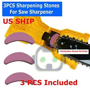 US 3Pcs Woodworking Chainsaw Teeth Chain Saw Sharpener Sharpening Stone Grinding $5.99