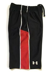 Boys Under Armour Black Red Shorts Athletic Sz Youth Sz S $10.00