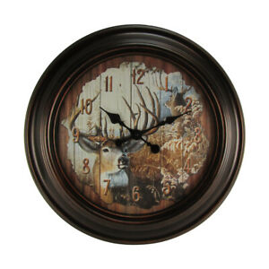 LARGE 23quot; Round Big Buck Deer Huge Wall Clock Country Rustic Hunting Cabin Decor $57.48