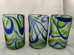 Mexico Hand Blown Glass Cup Blue Green Swirl Lot of 3