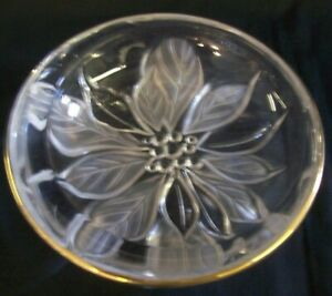 NEW CHRISTMAS Glass Poinsettia Dish with Gold Rim