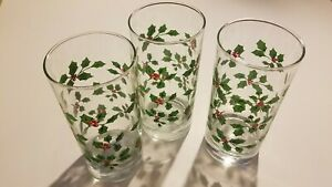 Holiday Christmas Glass Cups Drinkware Set of 3 A Must Have 👍FREE SHIPPING 📦