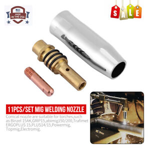 11Pcs Mig Welding Nozzle Welder Torch Nozzles Gold Tip Holder Contact Tips Kits $9.49