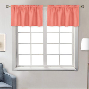 BGment Rod Pocket Valances Curtain for Kitchen 42 x 18quot; 2 PanelsCoral