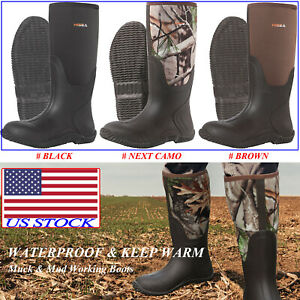 HISEA Men#x27;s Rubber Neoprene Boots Insulated Breathable Outdoor Muck Hunting Boot