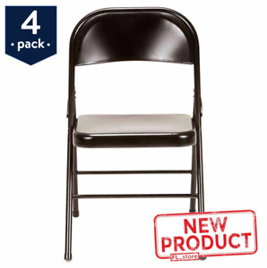 4 PACK Steel Folding Chair Seat Portable Party Office Garage Guests Black NEW