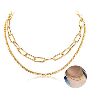 Double Layered Choker Necklace Women Gold Stainless Steel Paperclip Wheat Chain