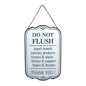 Funny Vintage Metal Do Not Flush Wall Sign Hanging Rustic Bathroom Bar Pub Decor