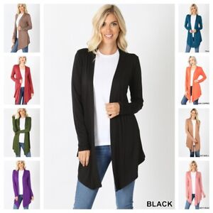 Womens Solid Lightweight Jersey Knit Open Front Long Cardigan S 3X $10.95