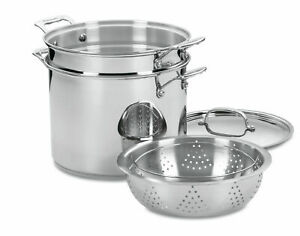 Cuisinart Chef#x27;s 12 Qt Pasta Steamer Set with Lid Cover Stainless Steel NEW Box $89.99
