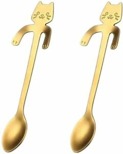 New Cute Cat Coffee SpoonTea spoonStainless Steel 2 PCS GOLD FREE SHIPPING