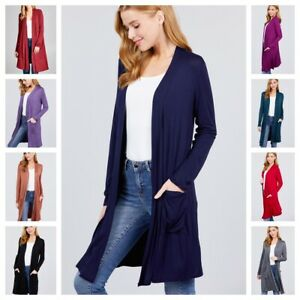 Womens Solid Jersey Knit Open Front Knee Length Open Cardigan with pockets S 3X $13.99