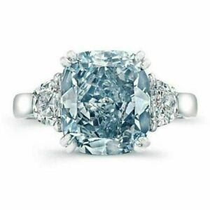 Certified 3.25Ct Fancy Blue Cushion Diamond Engagement Ring in 14K White Gold
