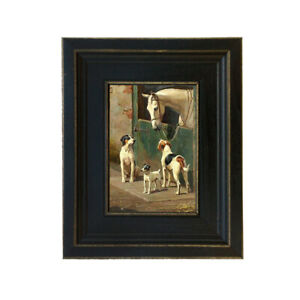 Dog and Horse at Stable Framed Oil Painting Print on Canvas in Distressed Black $45.90