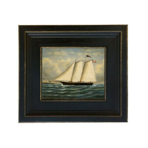 America Framed Oil Painting Print on Canvas in Distressed Black Wood Frame