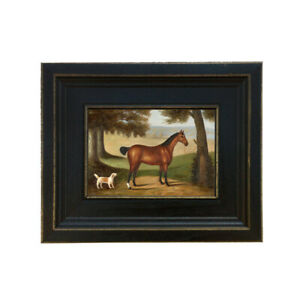 Horse and Dog Landscape Framed Oil Painting Print on Canvas in Distressed Black $56.00