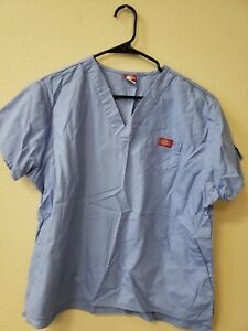Dickies Scrubs Large Size V Neck Unisex Scrub Top Dickies Blue Free Shipping