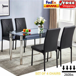 Set of 4 Leather Dining Chairs Living Room Kitchen High Back Chair Padded KN