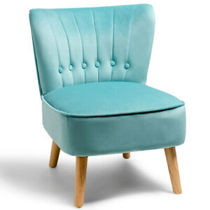 Armless Accent Chair Simple Style Tufted Velvet Leisure Upholstered Sofa Green