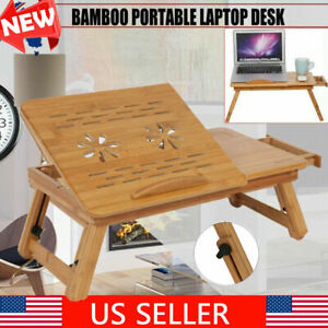 Foldable Bamboo Portable Table Bed Food Desk Stand Rise Serving Tray w Drawer