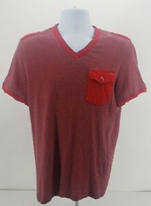 GUESS Front Pocket Red Stripped T Shirt Mens Size Large $16.22