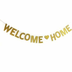 Glitter Gold Welcome Home Banner for Home Decoration Family Party Supplies Phot