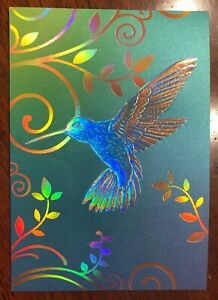 Papyrus Hummingbird Blank Note Card Blue Foil Papyrus Gold Seal LOT OF 2 CARDS