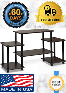 FURINNO Dark Brown amp; Black Table TV Furniture Stand For Entertainment Center New