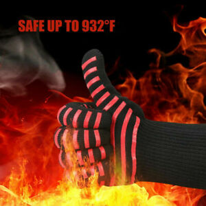 2X Barbecue Heat Resistant Silicone Gloves Oven Kitchen Grill BBQ Cooking Mitts